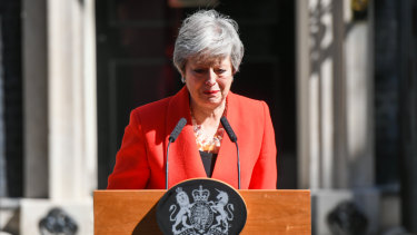 Theresa May delivering a speech announcing her resignation outside number 10 Downing Street.