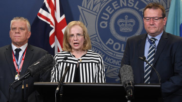 (From left) Detective Superintendent Jon Wacker, Queensland chief health officer Jeanette Young and Acting Chief Superintendent of state crime command Terry Lawrence address the media regarding the strawberry contamination.