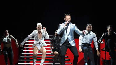 Hugh Jackman performs onstage in The Man. The Music. The Show.