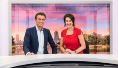 A reason to smile: ABC NewsBreakfast hosts Michael Rowland and Virginia Trioli are holding firm while their commercial rivals decline.