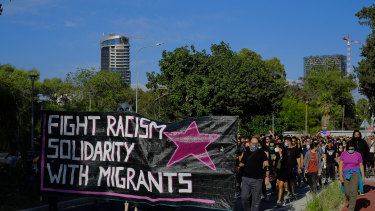 Protesters march in support of detained migrants in Nicosia, Cyprus, and to demonstrate their solidarity with African-American man George Floyd who died in Minneapolis while pleading for his life.