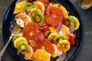Kefir, citrus and fruit salad with cumin, honey, ginger and lemon dressing.