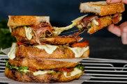 Katrina Meynink's loaded caprese toasted sandwich with pesto and onion jam.