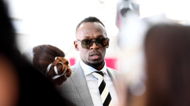 Guest-list overhaul ... Usain Bolt at the Mumm marquee in 2017.