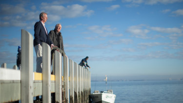 Deputy mayor Rob Grinter (left) and councillor Laurence Evans at Brighton Beach where work will be done to protect the foreshore from climate change.