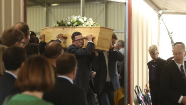 Premier Daniel Andrews at his father's funeral in 2016.