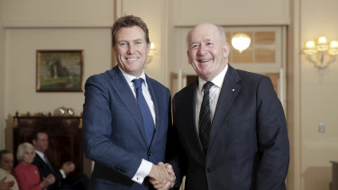 Attorney-General Christian Porter was sworn in on Wednesday. He also takes up the industrial relations portfolio.