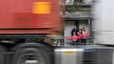 Kathleen and Rob with their children Matt (11) and Georgia (8) live on Williamstown Road inSeddon, theyare sick of worsening truck traffic and pollution on their street
