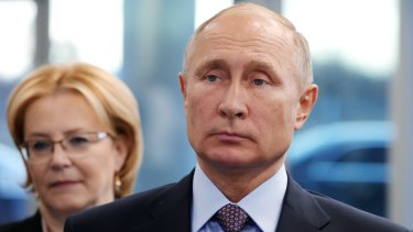Russian President Vladmir Putin and Health Minister Veronika Skvortsova in Moscow last week.
