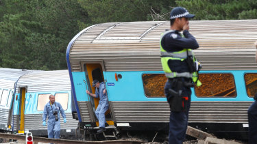The scene of the derailment at Wallan, about 45 kilometres north of Melbourne.