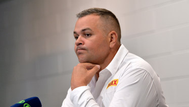 Broncos coach Anthony Seibold after Saturday night's shock loss to the Gold Coast Titans.