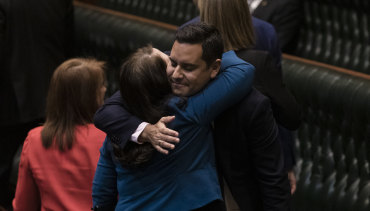 Independent MP Alex Greenwich is congratulated by Liberal MP Felicity Wilson after the passing of the bill to decriminalise abortion in 2019.