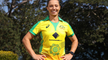 Ashleigh Gardner models the women's Indigenous uniform worn earlier this year.