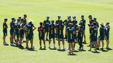 Justin Langer addresses the team during training at the WACA.