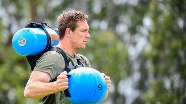 Dane Haylett-Petty at Wallabies training this week.