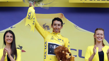 Bernal, the new overall leader, took to the podium in the yellow jersey.