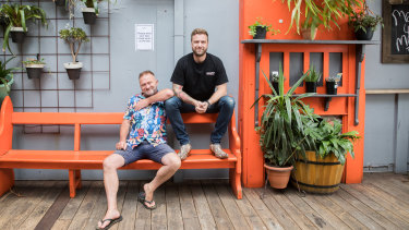 Chris Driscoll (left) and husband Keller Ross who own Sircuit and Mollies Bar and Diner in Fitzroy.