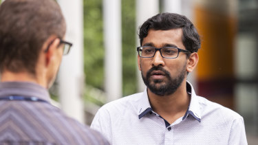 Tamil Refugee spokesman Aran Mylvaganam is seen outside the Federal Court in Melbourne, Friday, December 21, 2018.