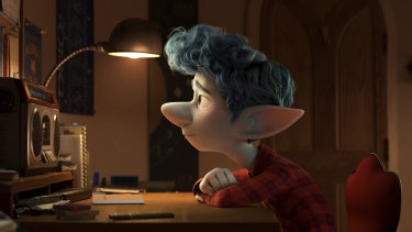 Ian Lightfoot, voiced by Tom Holland, in a scene from Onward.