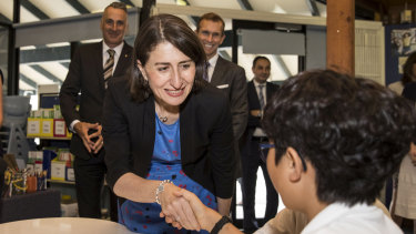 Premier Gladys Berejiklian and Education Minister Rob Stokes talk to students at Concord Public School.