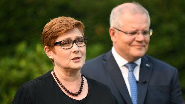 Foreign Minister Marise Payne, with Prime Minister Scott Morrison.