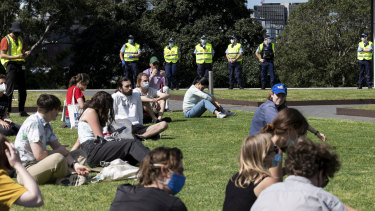 Students sitting down in the park were allowed to stay. Those protesting were fined.