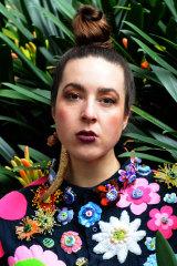 Louise Meuwissen in blossom shirt created with Glenn Barkley (2018).