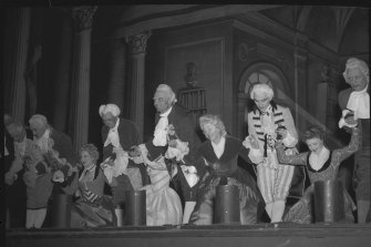 Sir Laurence Olivier (centre) and the cast of School for Scandal take a bow on opening night, June 29, 1948.