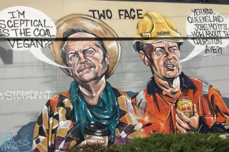 Labor's survival may hang on working out how it communicates with its traditional constituency. Graffiti in the Melbourne suburb of Preston depicts then Labor leader Bill Shorten torn between inner-city and blue-collar voters.