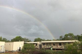 A rainbow over the Howard Springs Quarantine Facility in Darwin.