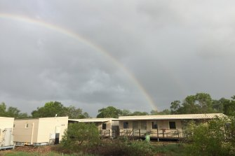 A rainbow over the Howard Springs Quarantine Facility in Darwin.