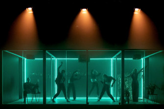 Theatre Works' COVID booth, disco-style.