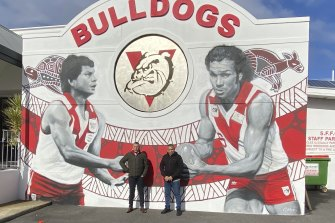 Brad Collard with his brother Cliff Collard Jr at Fremantle Oval for this year's NAIDOC Round.