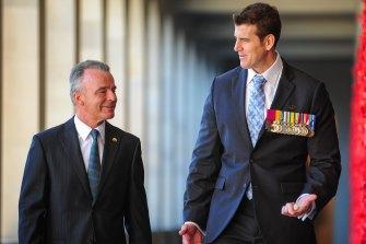 Australian War Memorial director Brendan Nelson and Victoria Cross recipient Ben Roberts-Smith in 2013.