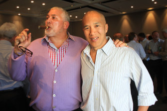 Mick Gatto and Charlie Teo at a fundraising function in 2012.