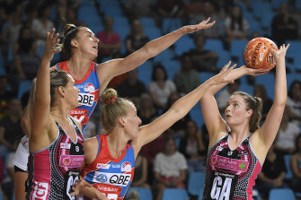 Samantha Goodem of the Thunderbirds takes a shot in Cairns.