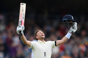 England captain Joe Root celebrates a 23rd Test ton.