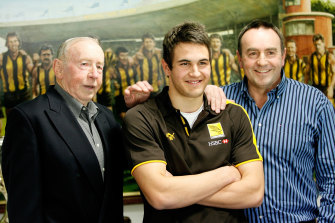 Three generations, when Josh Kennedy was taken as a father-son by the Hawks in 2006: John Kennedy snr, Josh, and John jnr.