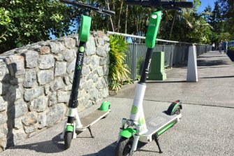 The new-generation Lime scooter (right) alongside the generation 2 style that can be seen around Brisbane at present.