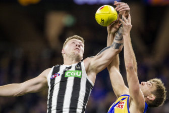 Pivotal performance: Collingwood's Jordan De Goey in attack during the Pies' one-point win against West Coast.