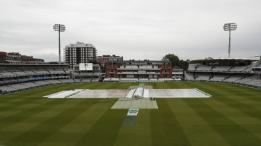 The covers remained on at Lord's for most of the first day.