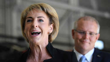 Small Business Minister Michaelia Cash on the campaign trail with Prime Minister Scott Morrison earlier this month.