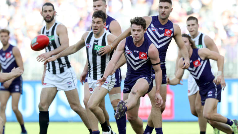Lachie Neale has been a beacon in Fremantle's midfield but could be in Brisbane next year.