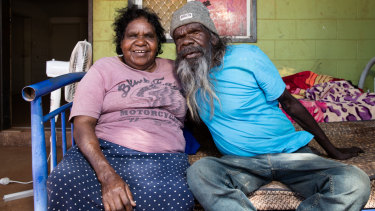 Carer Dadu Corey and her husband Victor Ross, who has renal failure, at their home in Yuendumu, Northern Territory.