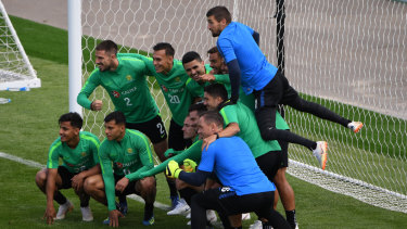 Happy snap: Australia take a moment to capture their World Cup preparations.