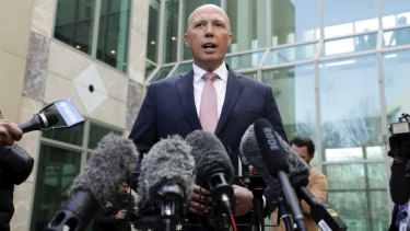 Peter Dutton addresses the media