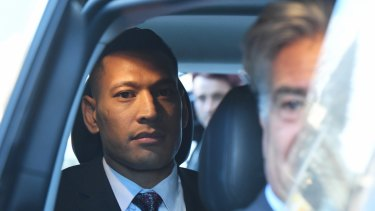 Israel Folau leaves a conciliation hearing at the Fair Work Commission in June.
