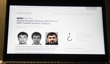The website of the Bellingcat group, which has been investigating the suspects in the March poisoning of Sergei Skripal and his daughter in the UK.