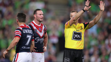 Cooper Cronk is sent to the sin bin after tackling Josh Papalii without the ball.