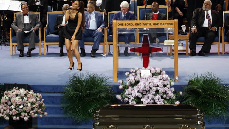 "Ariana Grande performed ""Natural Woman"" at the service."
